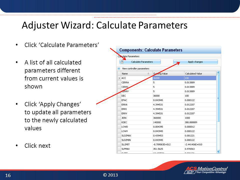 Adjuster Wizard: Calculate Parameters