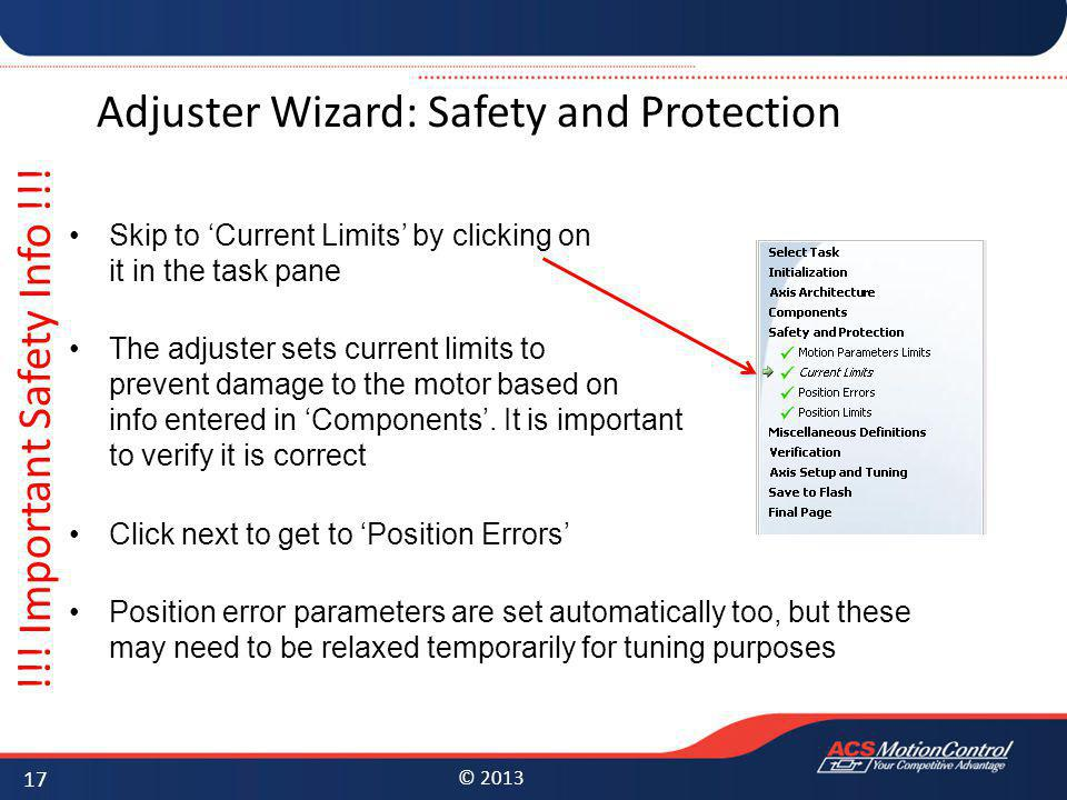 Adjuster Wizard: Safety and Protection