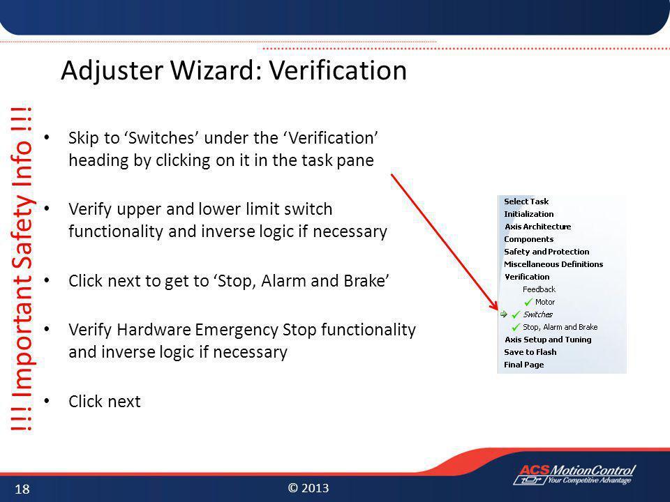 Adjuster Wizard: Verification