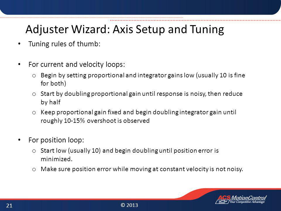Adjuster Wizard: Axis Setup and Tuning