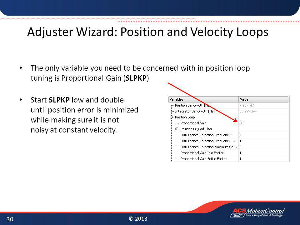 Adjuster Wizard: Position and Velocity Loops