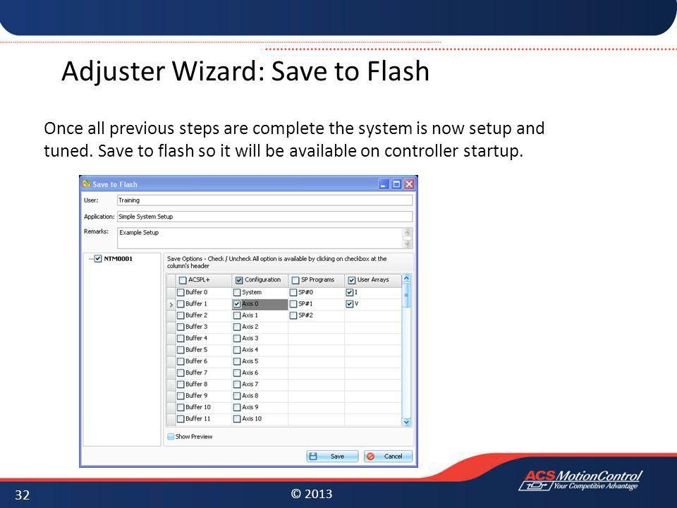 Adjuster Wizard: Save to Flash