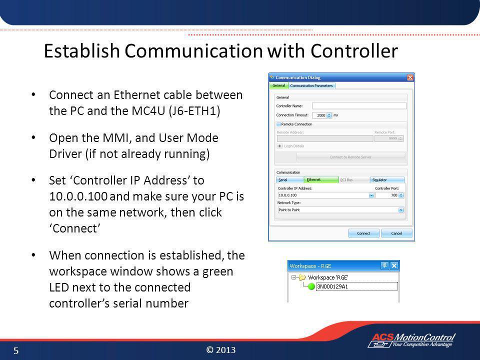 Establish Communication with Controller