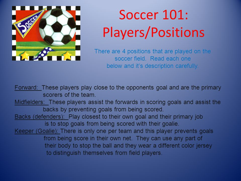 Soccer 101: Players/Positions