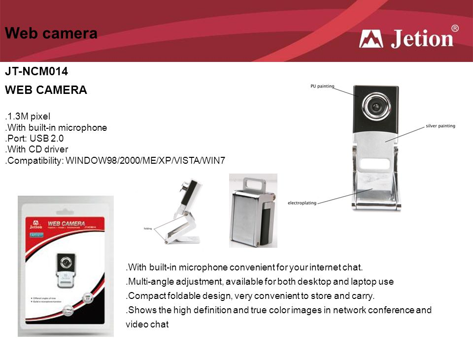 Web camera JT-NCM014 WEB CAMERA .1.3M pixel .With built-in microphone