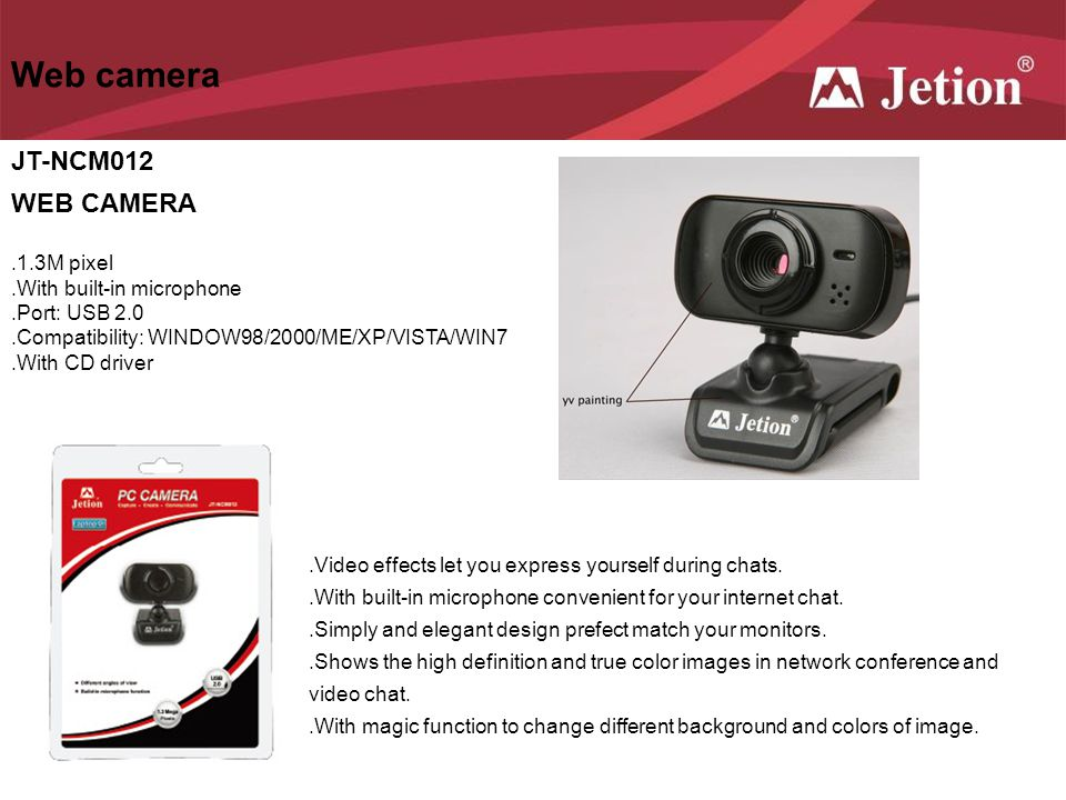 Web camera JT-NCM012 WEB CAMERA .1.3M pixel .With built-in microphone