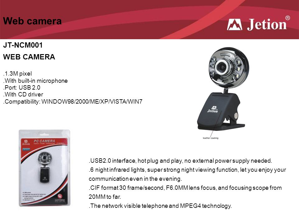 Web camera JT-NCM001 WEB CAMERA .1.3M pixel .With built-in microphone