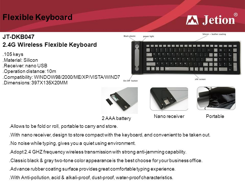 Flexible Keyboard JT-DKB047 2.4G Wireless Flexible Keyboard .105 keys