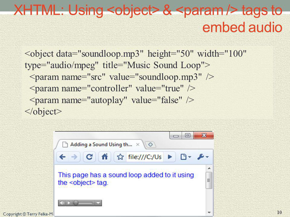 XHTML: Using <object> & <param /> tags to embed audio