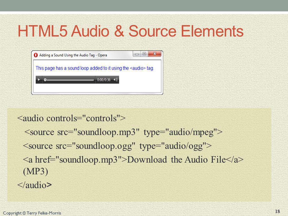 HTML5 Audio & Source Elements
