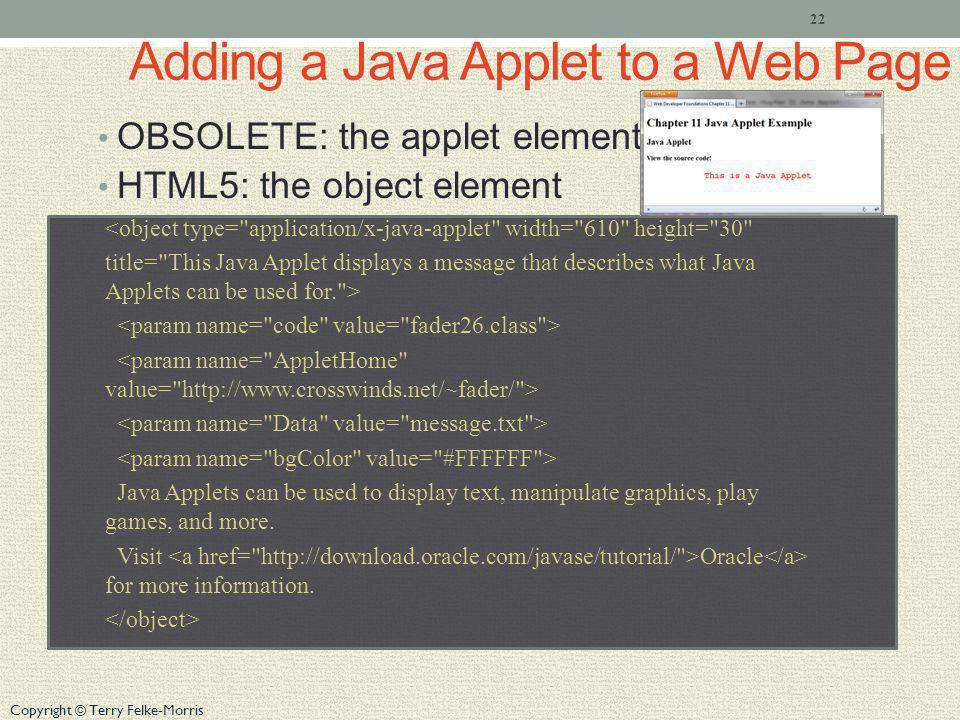 Adding a Java Applet to a Web Page