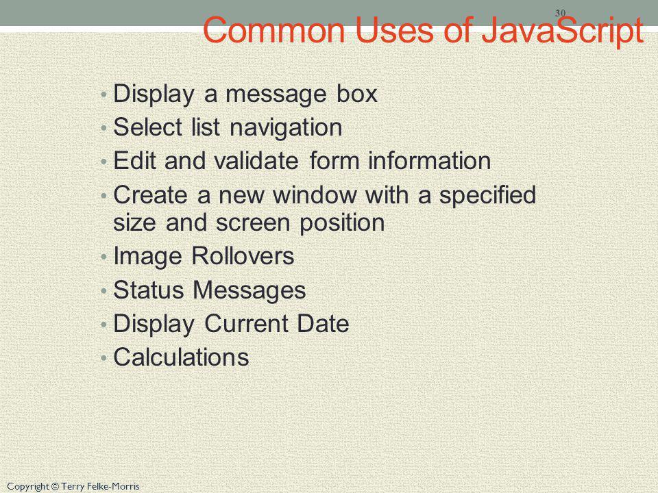Common Uses of JavaScript