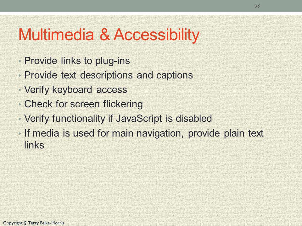 Multimedia & Accessibility