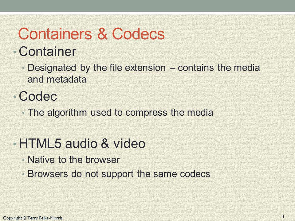 Containers & Codecs Container Codec HTML5 audio & video