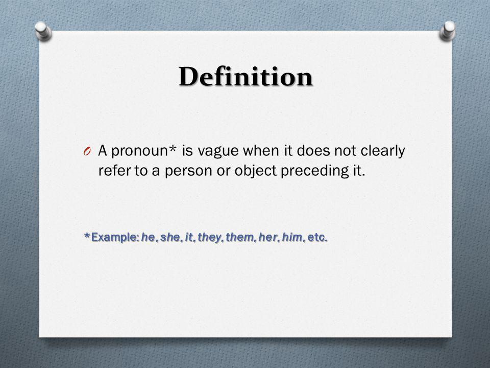Definition A pronoun* is vague when it does not clearly refer to a person or object preceding it.