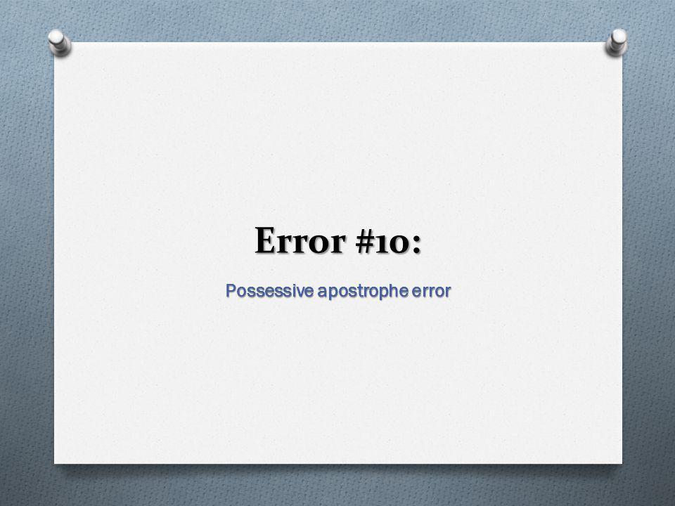 Possessive apostrophe error
