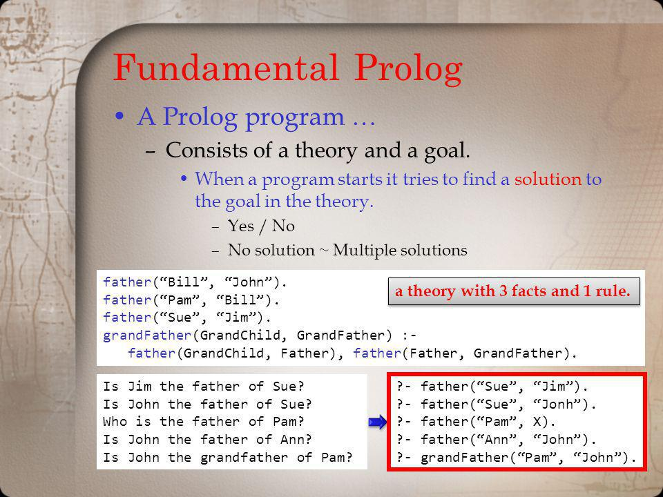 Fundamental Prolog A Prolog program … Consists of a theory and a goal.