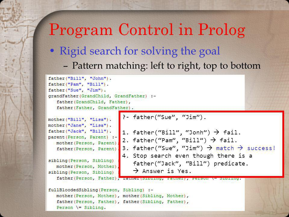 Program Control in Prolog