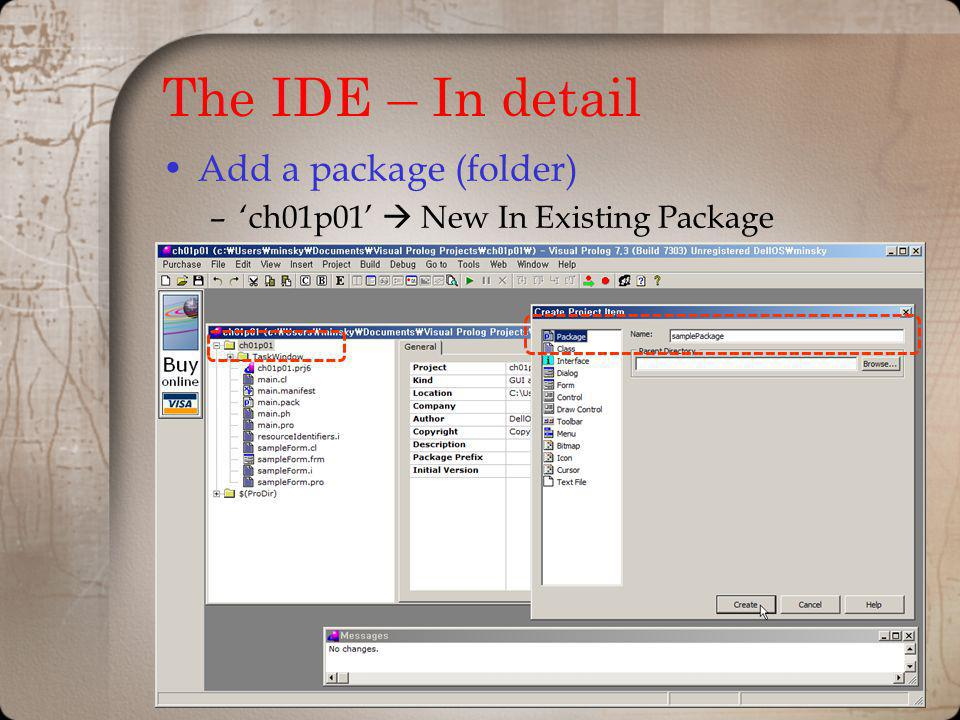 The IDE – In detail Add a package (folder)