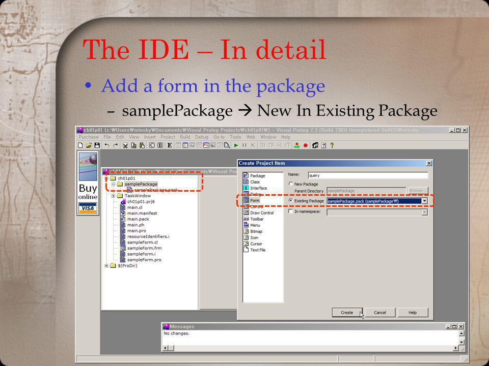 The IDE – In detail Add a form in the package