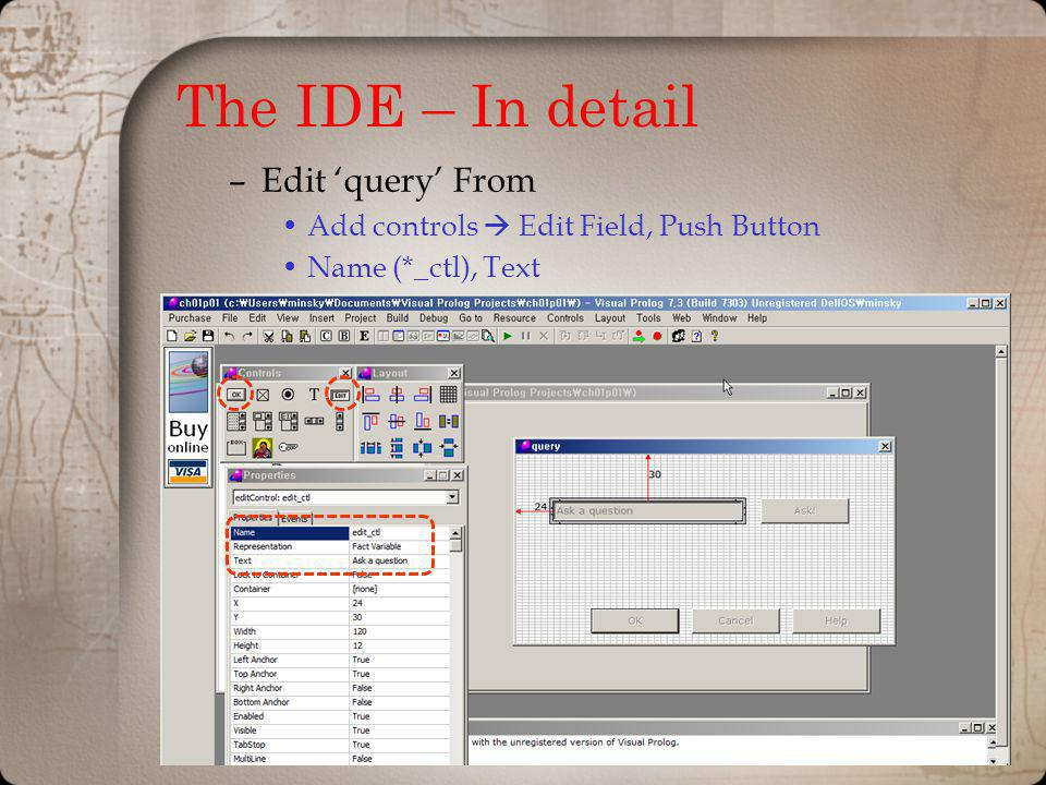 The IDE – In detail Edit 'query' From