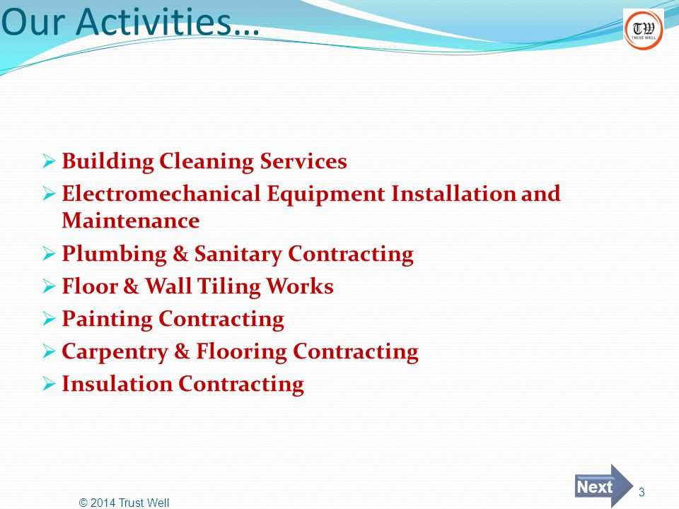 Our Activities… Building Cleaning Services