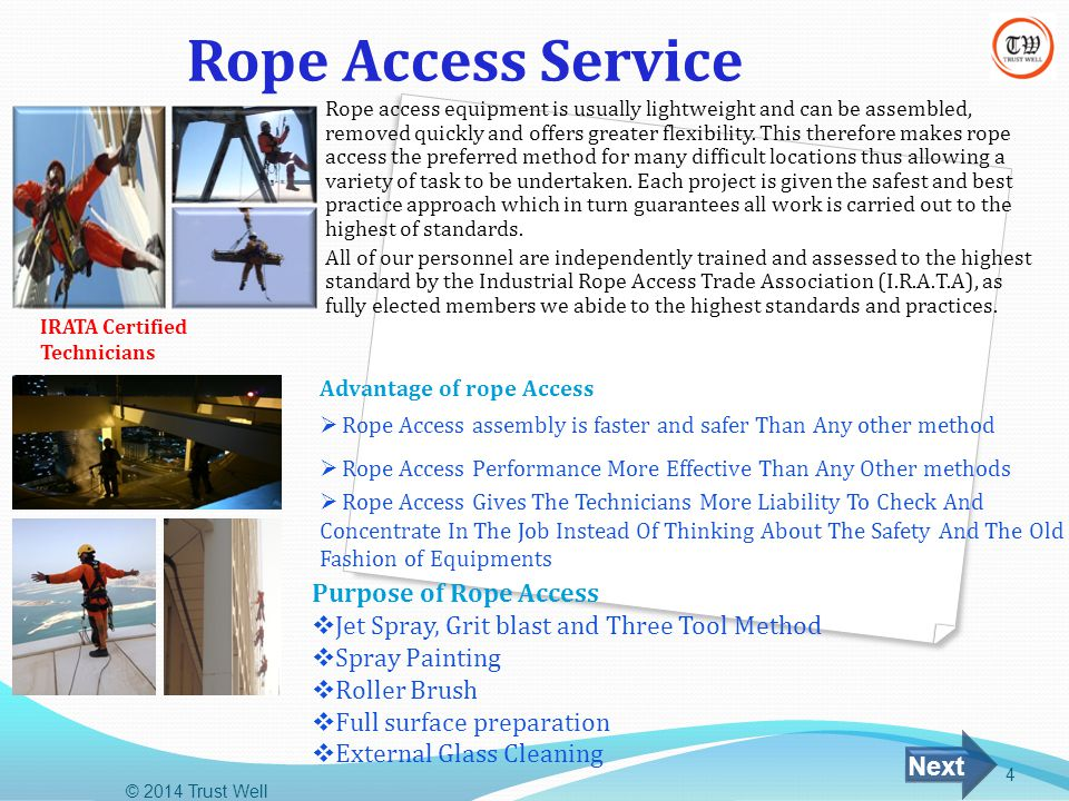 Rope Access Service Purpose of Rope Access