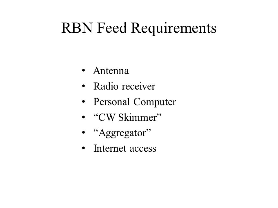 RBN Feed Requirements Antenna Radio receiver Personal Computer
