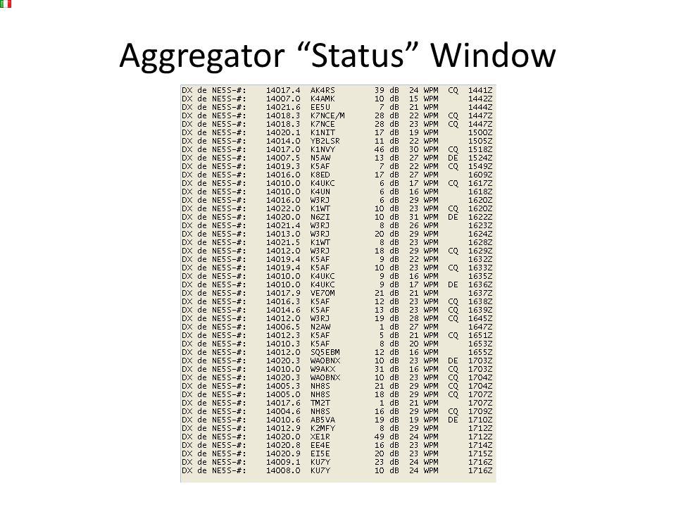 Aggregator Status Window
