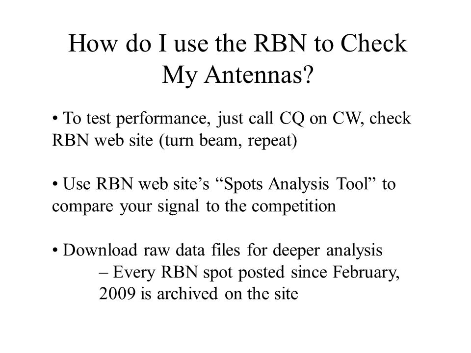 How do I use the RBN to Check My Antennas
