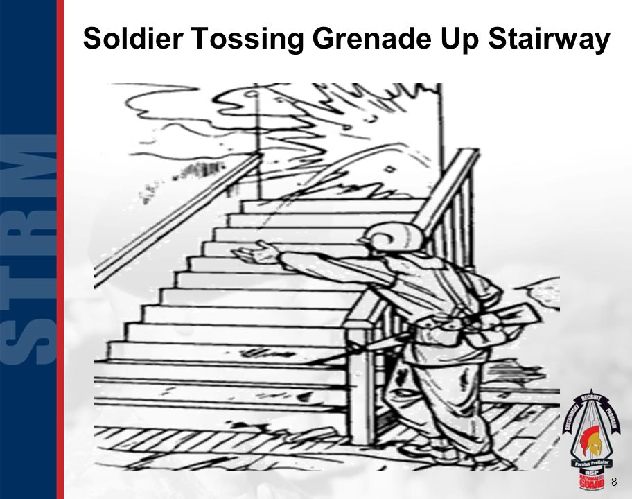Soldier Tossing Grenade Up Stairway