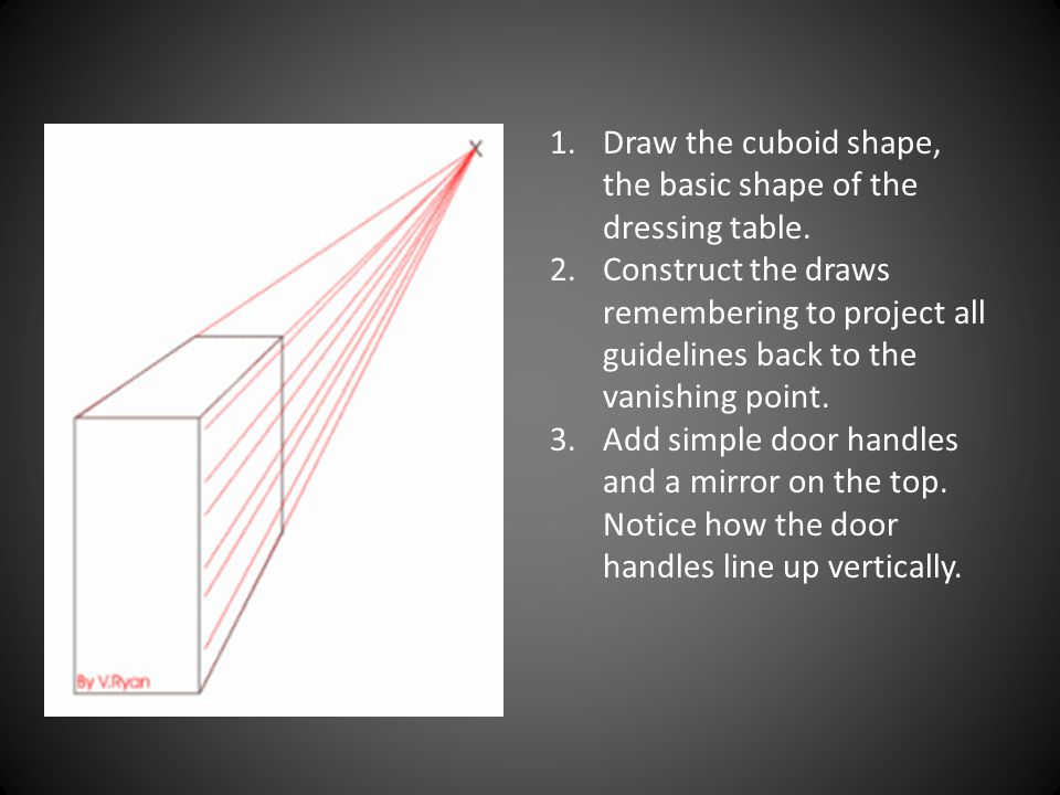 Draw the cuboid shape, the basic shape of the dressing table.