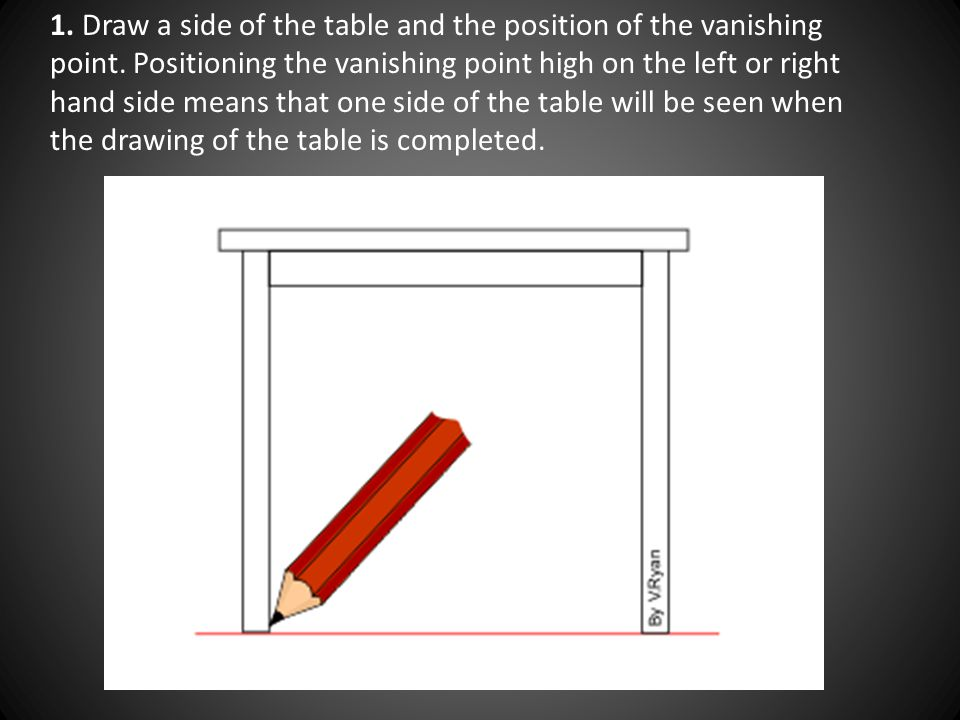 1. Draw a side of the table and the position of the vanishing point