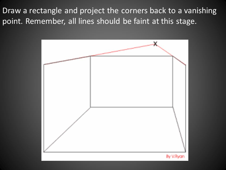 Draw a rectangle and project the corners back to a vanishing point