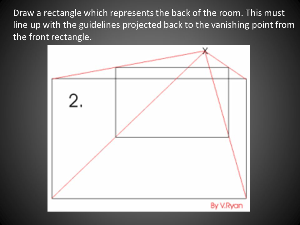 Draw a rectangle which represents the back of the room