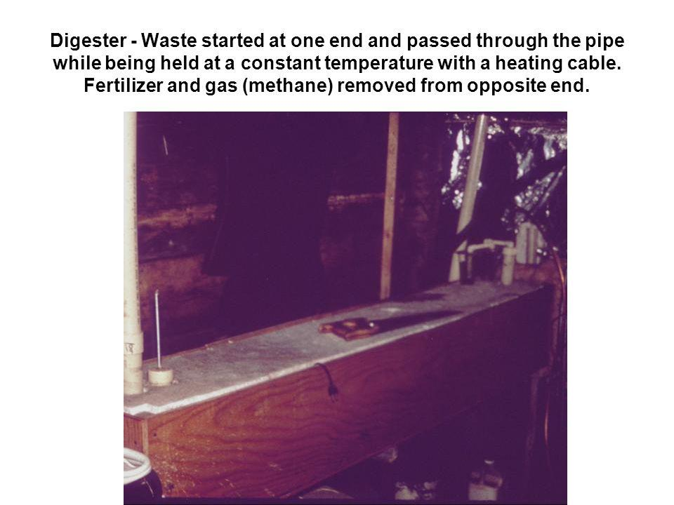 Digester - Waste started at one end and passed through the pipe while being held at a constant temperature with a heating cable.