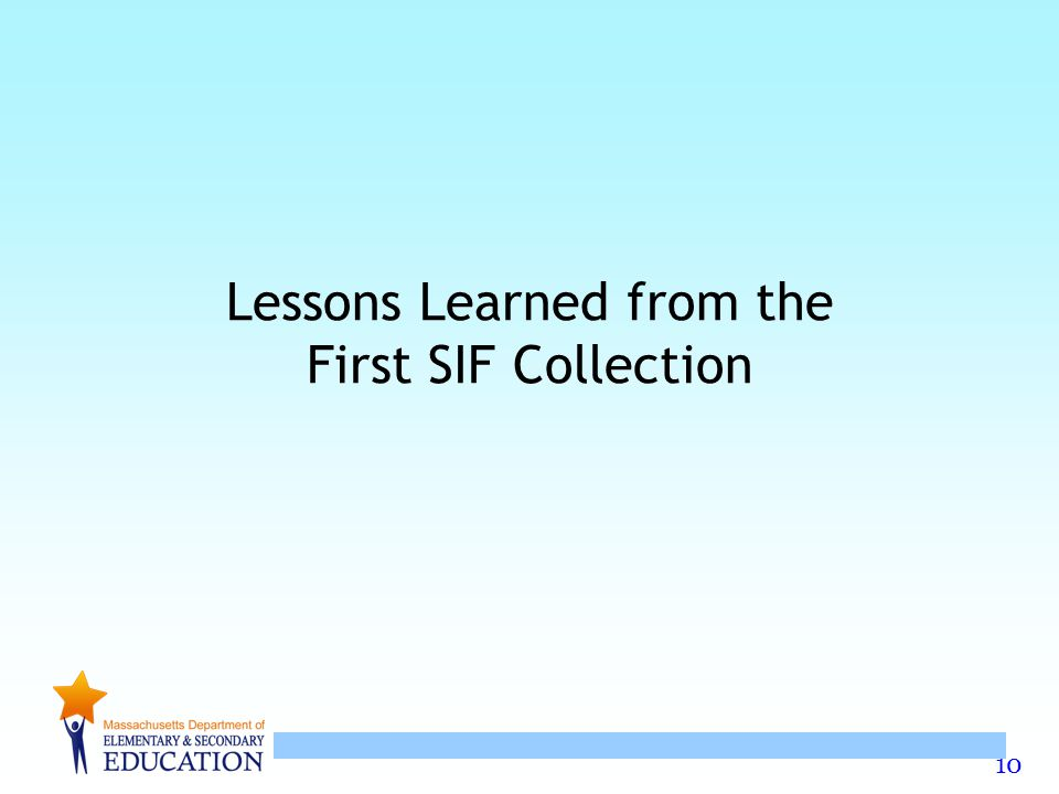 Lessons Learned from the First SIF Collection
