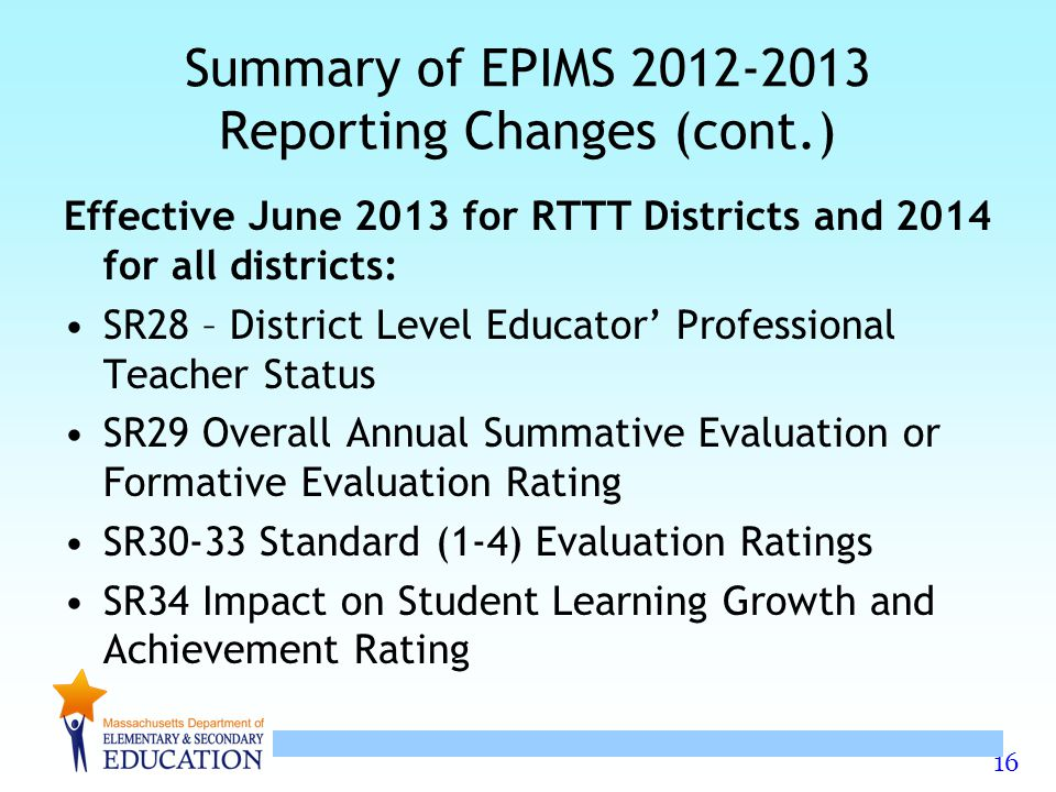 Summary of EPIMS 2012-2013 Reporting Changes (cont.)