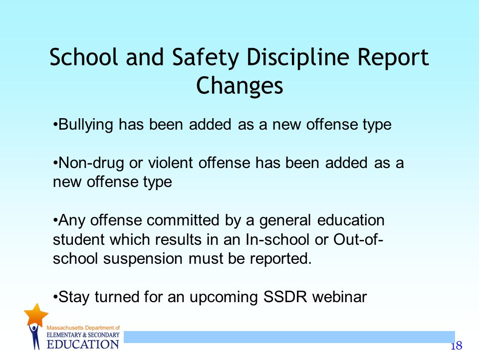School and Safety Discipline Report Changes