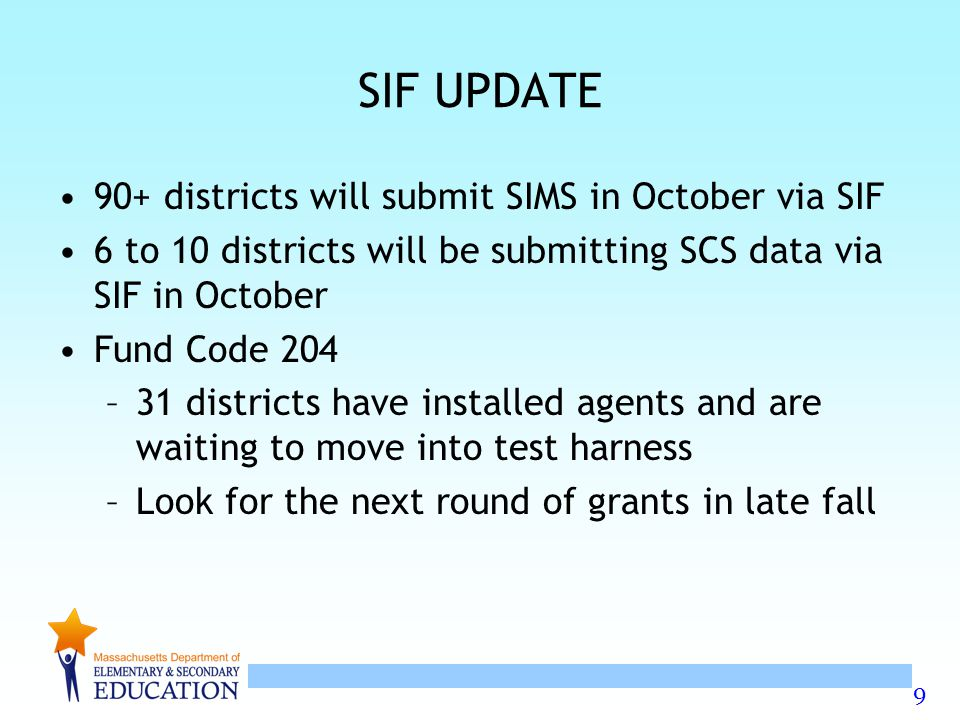 SIF UPDATE 90+ districts will submit SIMS in October via SIF