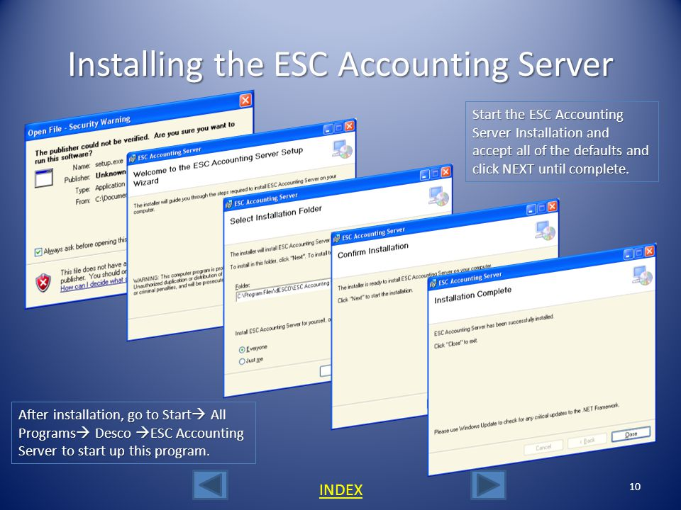 Installing the ESC Accounting Server