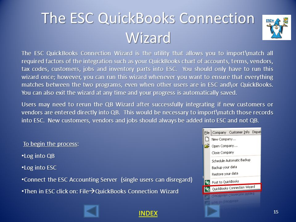 The ESC QuickBooks Connection Wizard