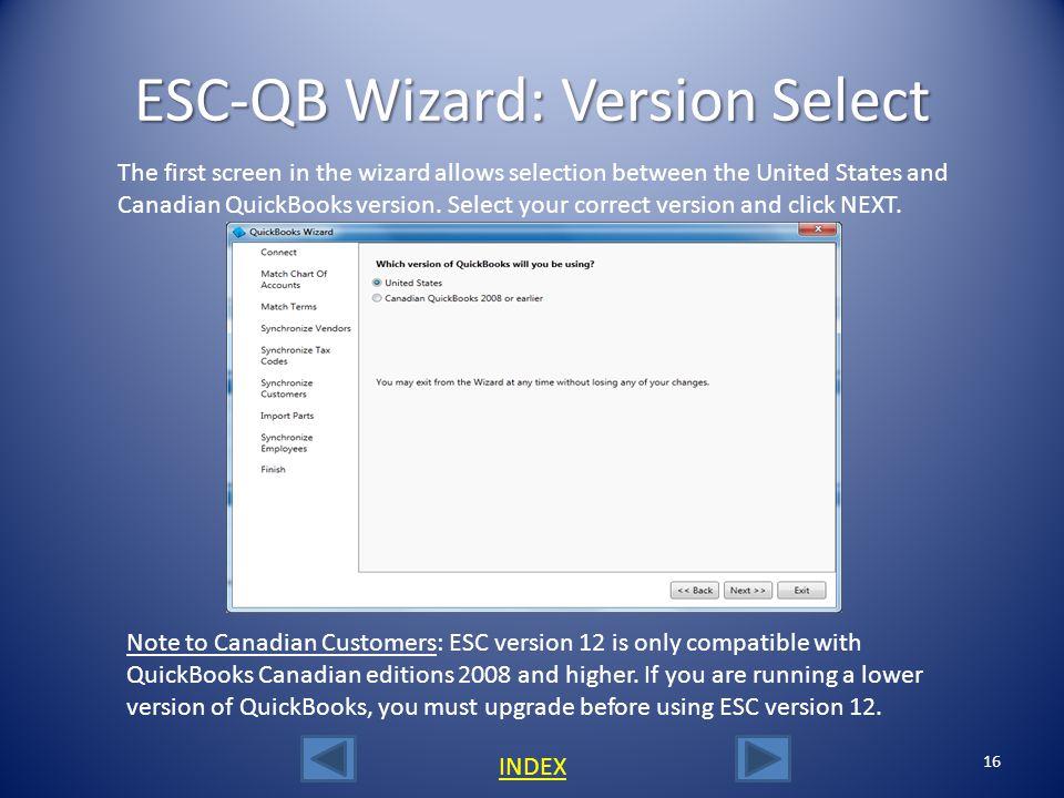 ESC-QB Wizard: Version Select
