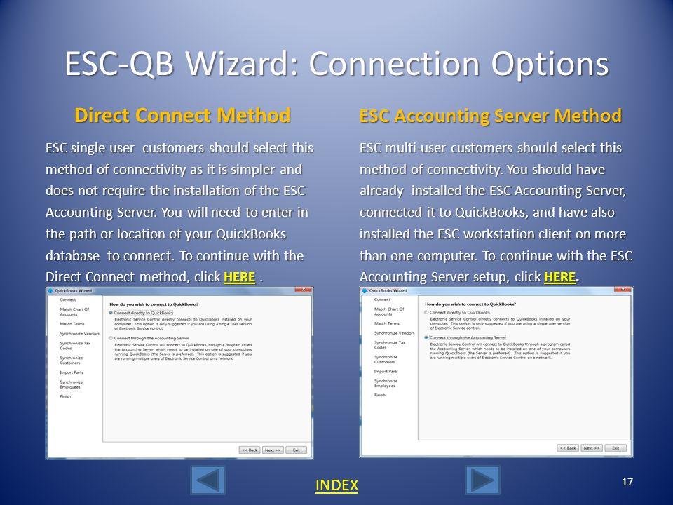 ESC-QB Wizard: Connection Options