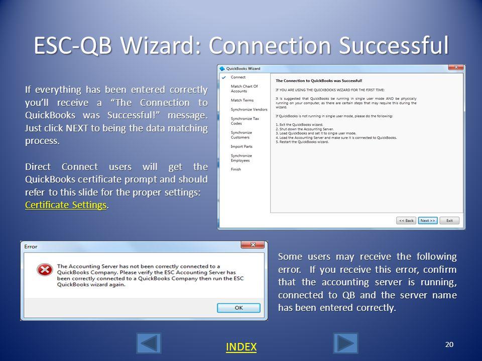 ESC-QB Wizard: Connection Successful