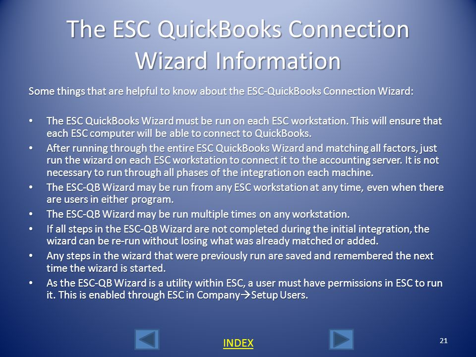 The ESC QuickBooks Connection Wizard Information