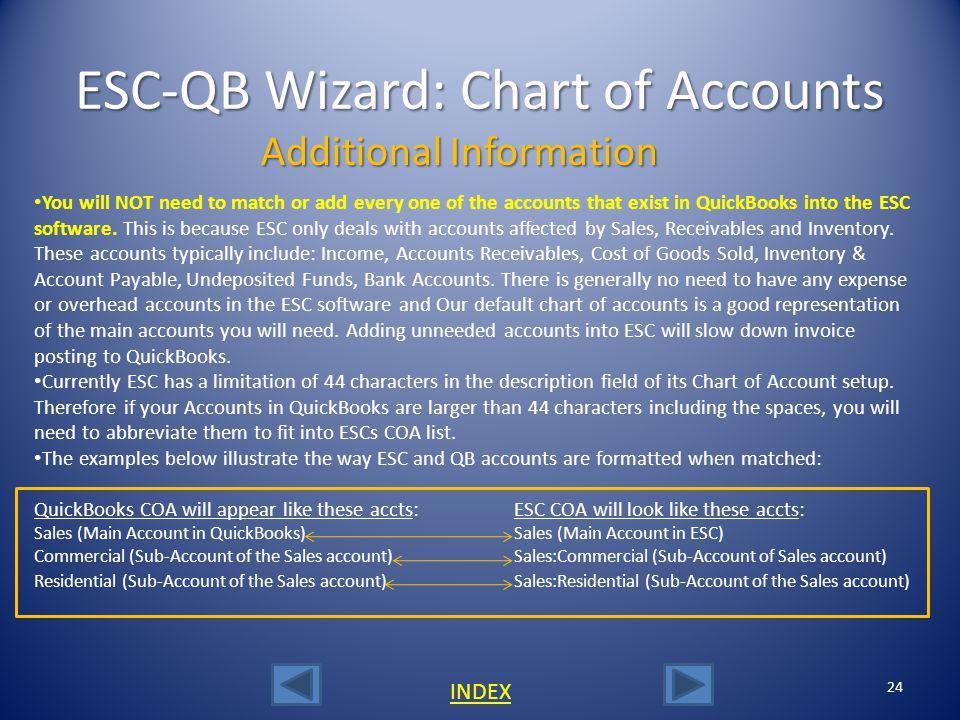 ESC-QB Wizard: Chart of Accounts
