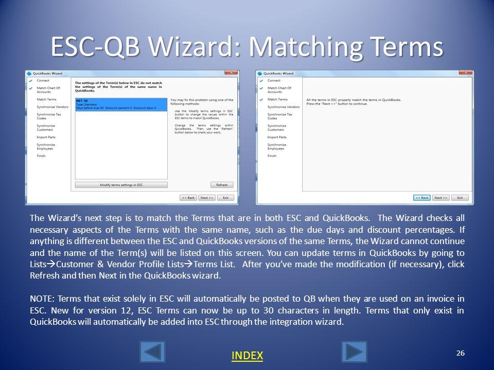 ESC-QB Wizard: Matching Terms