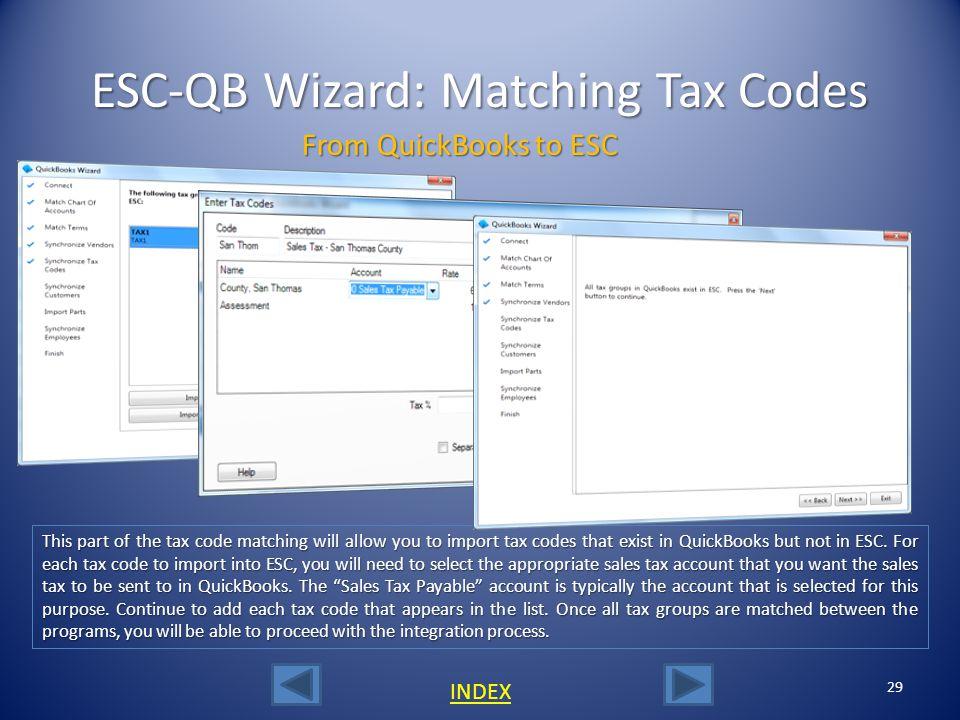 ESC-QB Wizard: Matching Tax Codes