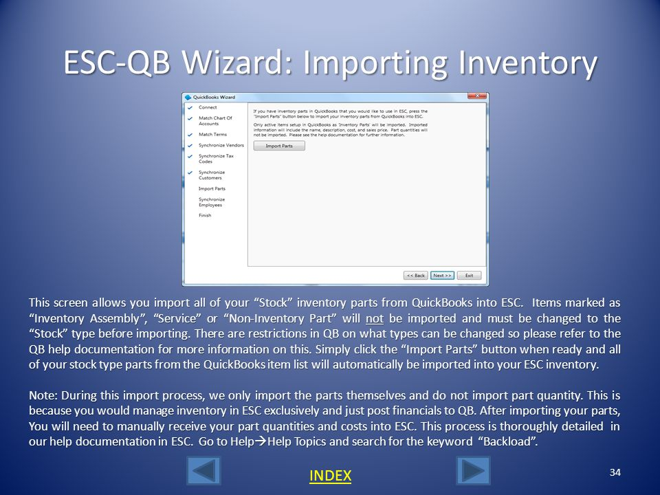 ESC-QB Wizard: Importing Inventory